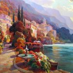 """Lake Como Stroll - 24"""" x 48"""" - Oil on Canvas - Available as Hand Painted Multiple Original Ltd. Ed"""