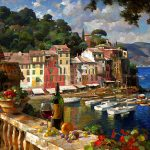 "Portofino Afternoon - 30"" x 40"" - Oil on Canvas - Available as Hand Painted Multiple Original Ltd. Ed"