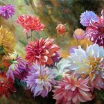"Dahlias - 30"" x 40"" - Acrylic on Canvas"
