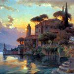 "Lake Como Paradise - 36"" x 48"" - Oil on Canvas - Available as Hand Painted Multiple Original Ltd. Ed"