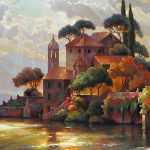 """Lake Como Tranquility - 24"""" x 48"""" - Oil on Canvas - Available as Hand Painted Multiple Original Ltd. Ed"""