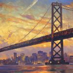 "Sunset on Bay Bridge - 34"" x 68""- Oil on Canvas Available as Multiple Original"