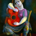 "Women With Red Guitar - 40"" X 30"" - Oil On Canvas - Available as Hand Painted Multiple Original Ltd. Ed."