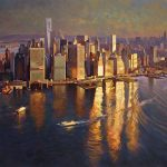 "Sunrise Over Manhattan - 40"" x 60"" - Acrylic on Canvas Available as Multiple Original Limited Edition"