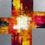 "6 CROSS of FIRE - 48"" x 48"" Acrylic on Canvas"